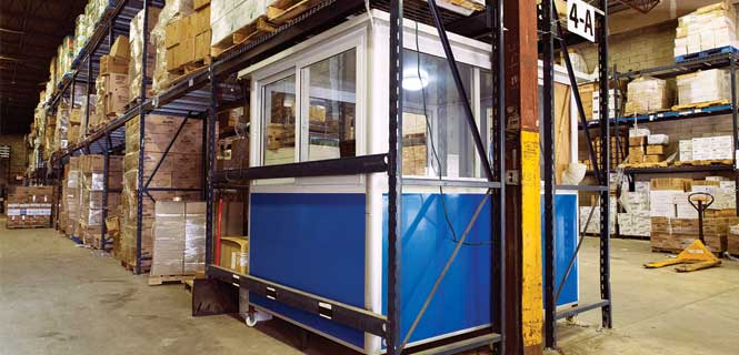 Portable warehouse booth Corner View under Pallet Rack