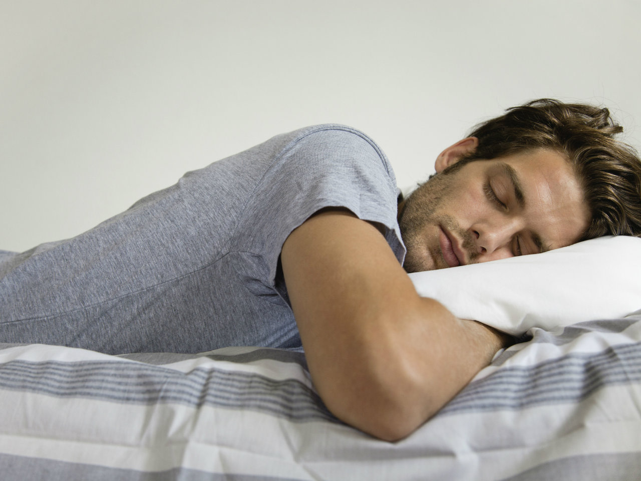 Man having a good quality sleep