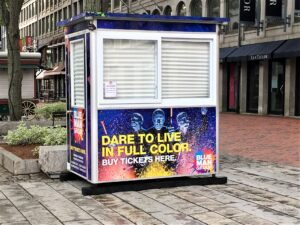 A closer look at colorful ticket booth for Blue Man Group Boston
