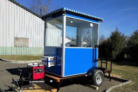 Blue guard booth on trailer