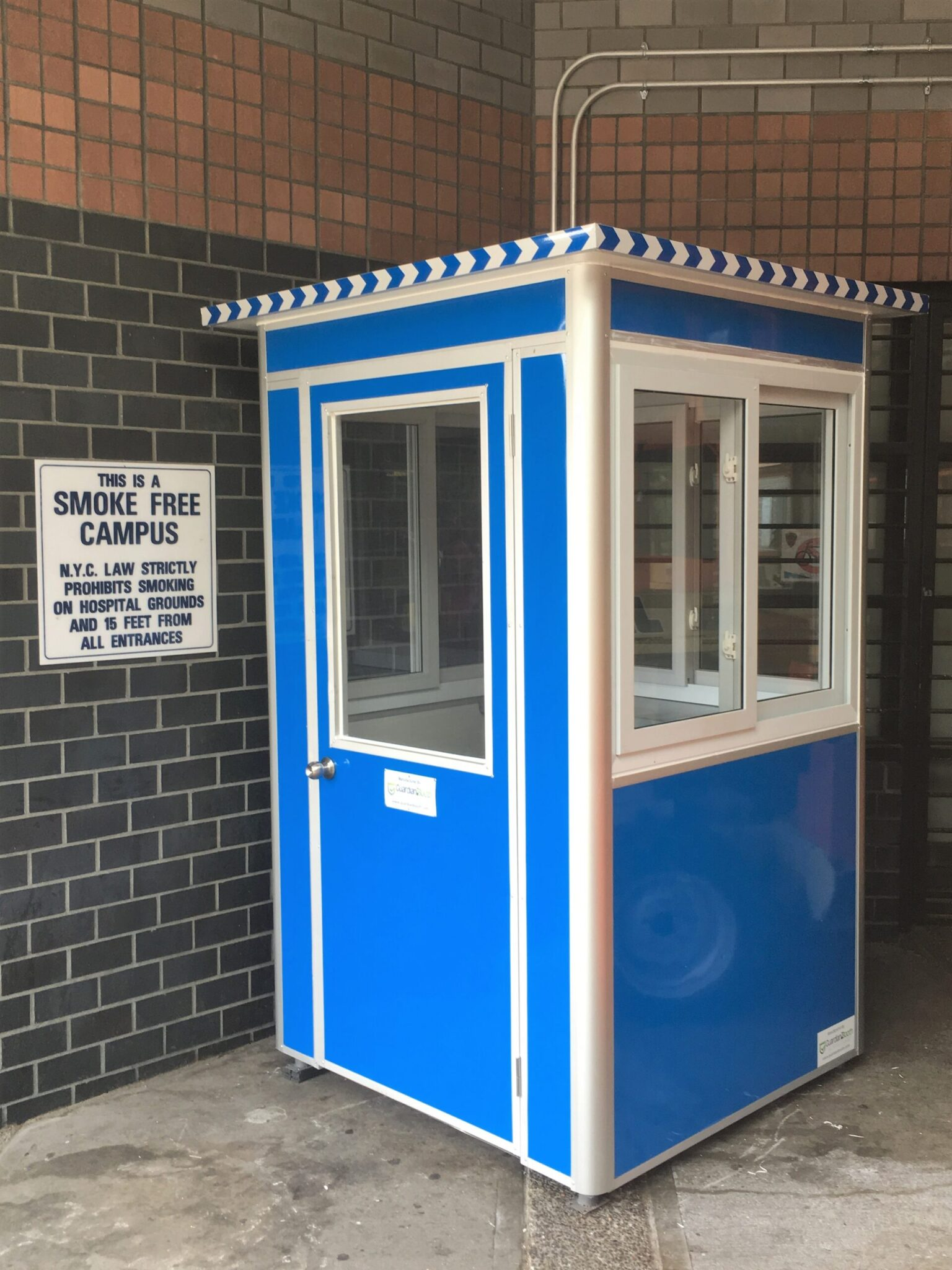4x4 Security Guard Booth in Queens, NY outside Hospital Entrance, With Sliding Windows, Swing Door, and Baseboard Heaters (2)