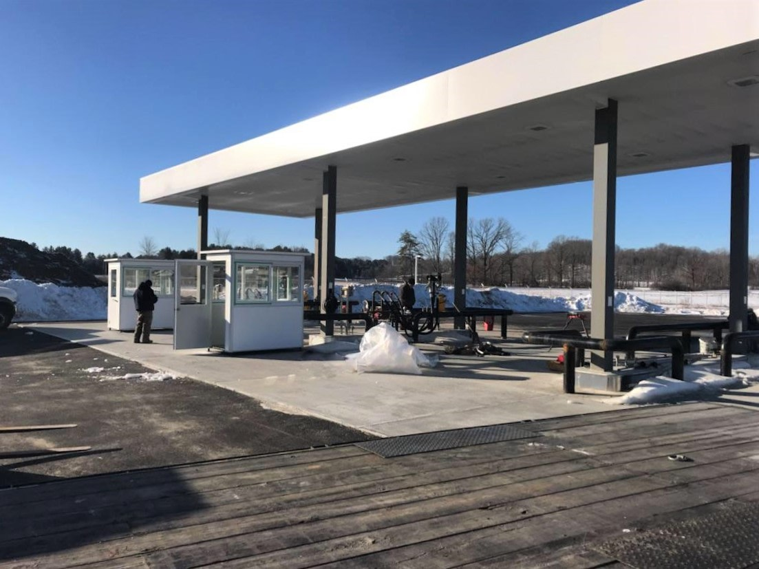 4x6 Gas Station Attendant Booth in Whitehall, NY with Custom Exterior Color, Swing Door, Baseboard Heaters, and Caster Wheels