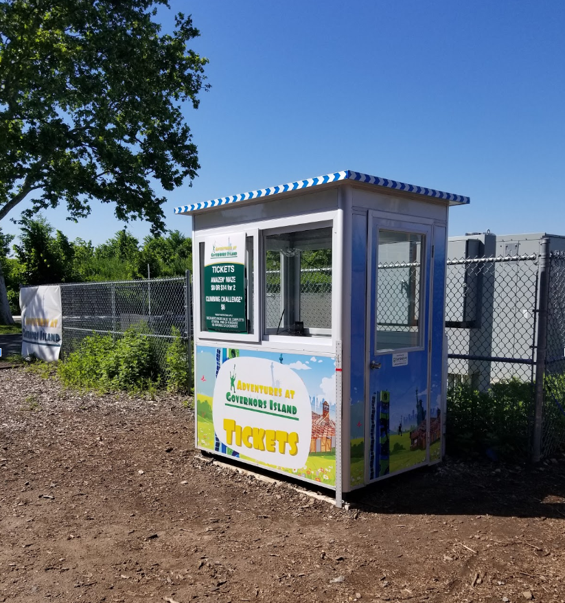 4x6 ticket booth on festival grounds in Governor's Island, NY