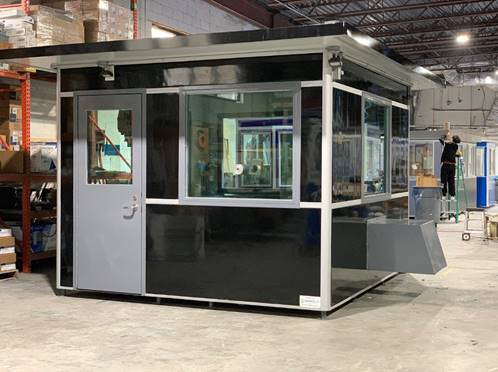 Black bullet resistant guard booth manufactured by Guardian Booth.