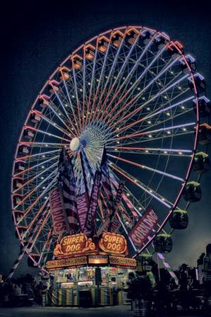 A ferris wheel lit up at night