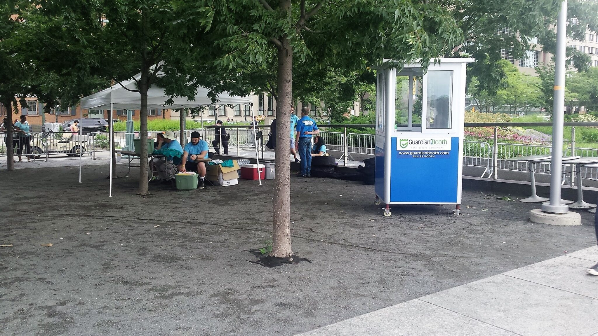 4x4 Cashier Booth in NYC outside Pride Parade, with Caster Wheels, Built-in AC, Swing Door and Flashing Light