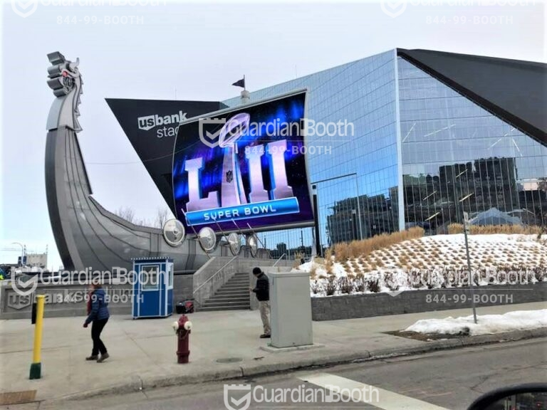 4x4 Security Guard Booth in Minneapolis, MN at the Stadium for Super Bowl with Built-in AC, Baseboard Heaters, and Sliding Windows