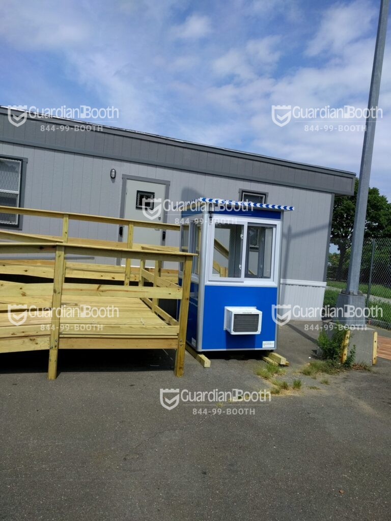 4x4 Security Guard Booth on Construction Site in Queens, NY with Built-in AC, Sliding Windows, and Anchoring Brackets