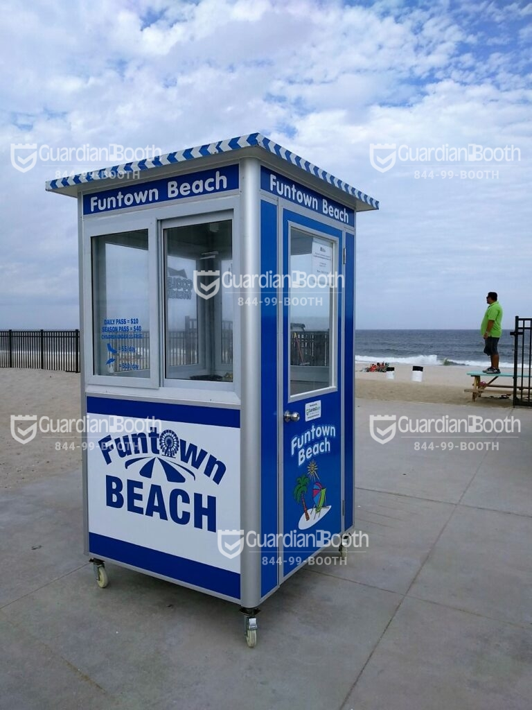4x4 Ticket Booth in Seaside Park, NJ on the Beach with Caster Wheels, Swing Door, Sliding Window, Built-in AC,and Breaker Panel Box