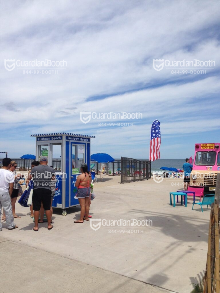 4x4 Ticket Booth in Seaside Park, NJ on the Beach with Caster Wheels, Sliding Window, Built-in AC,and Breaker Panel Box