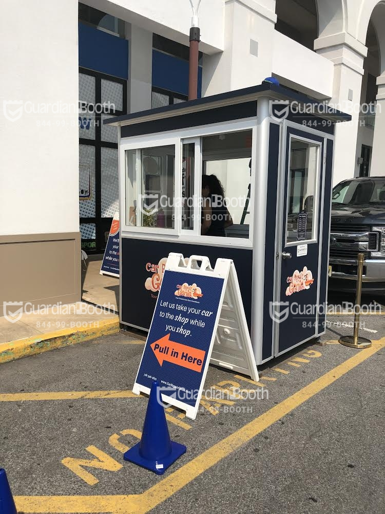 4x6 Parking Booth in Glendale, NY with Custom Graphics, Sliding Windows, and Custom Exterior Color