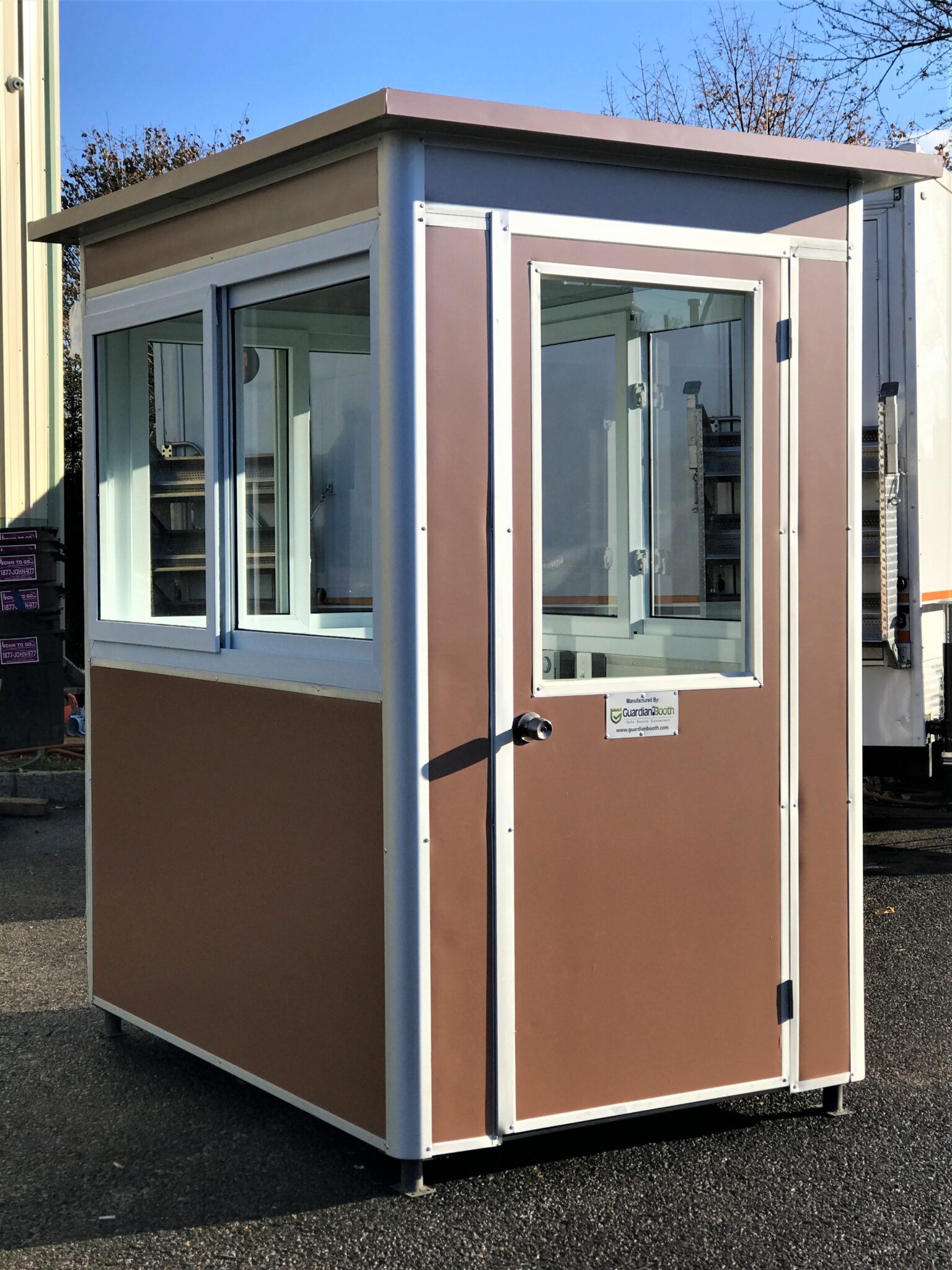4x6 Parking Booth in Houston, TX with Swing Door, Sliding Windows