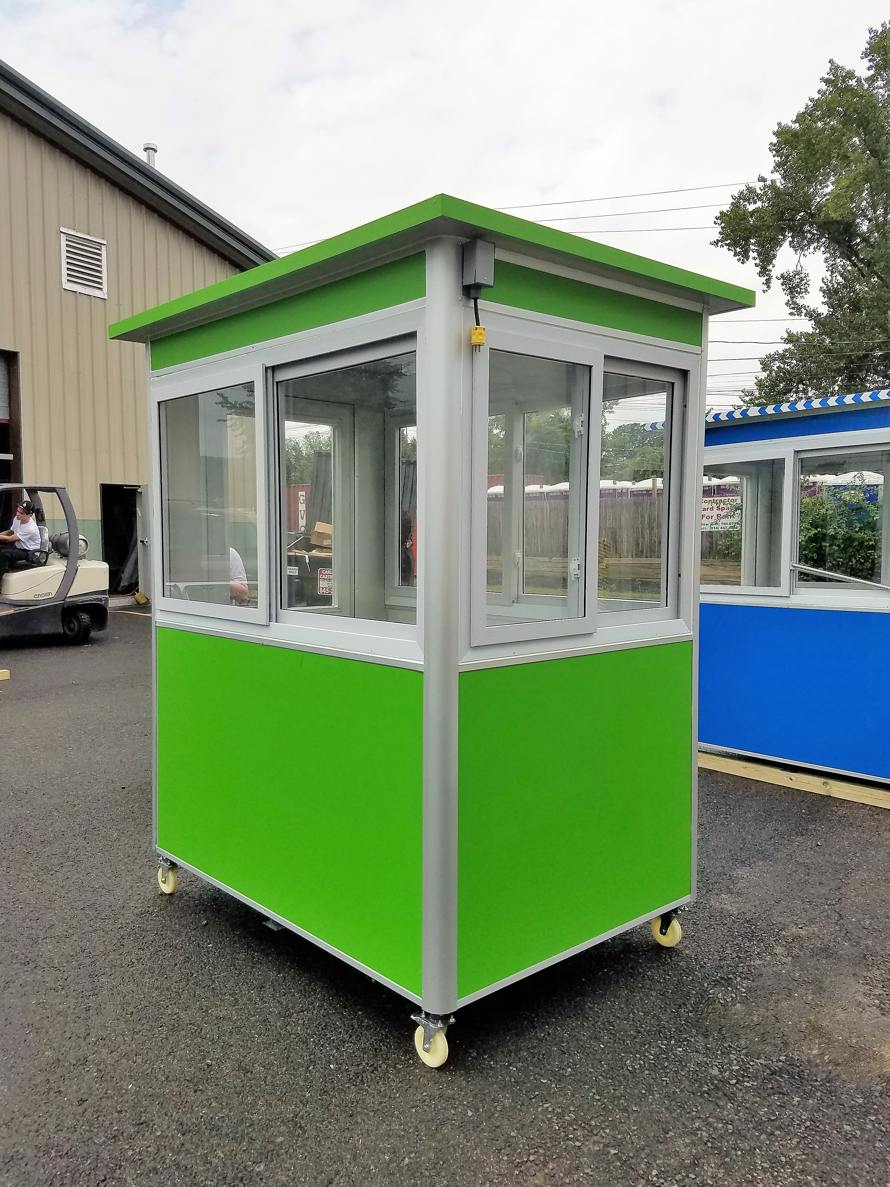 4x6 Parking Booth in Los Angeles,CA with Custom Exterior Color, Caster Wheels, Electrical Conduit Box, and Sliding Windows
