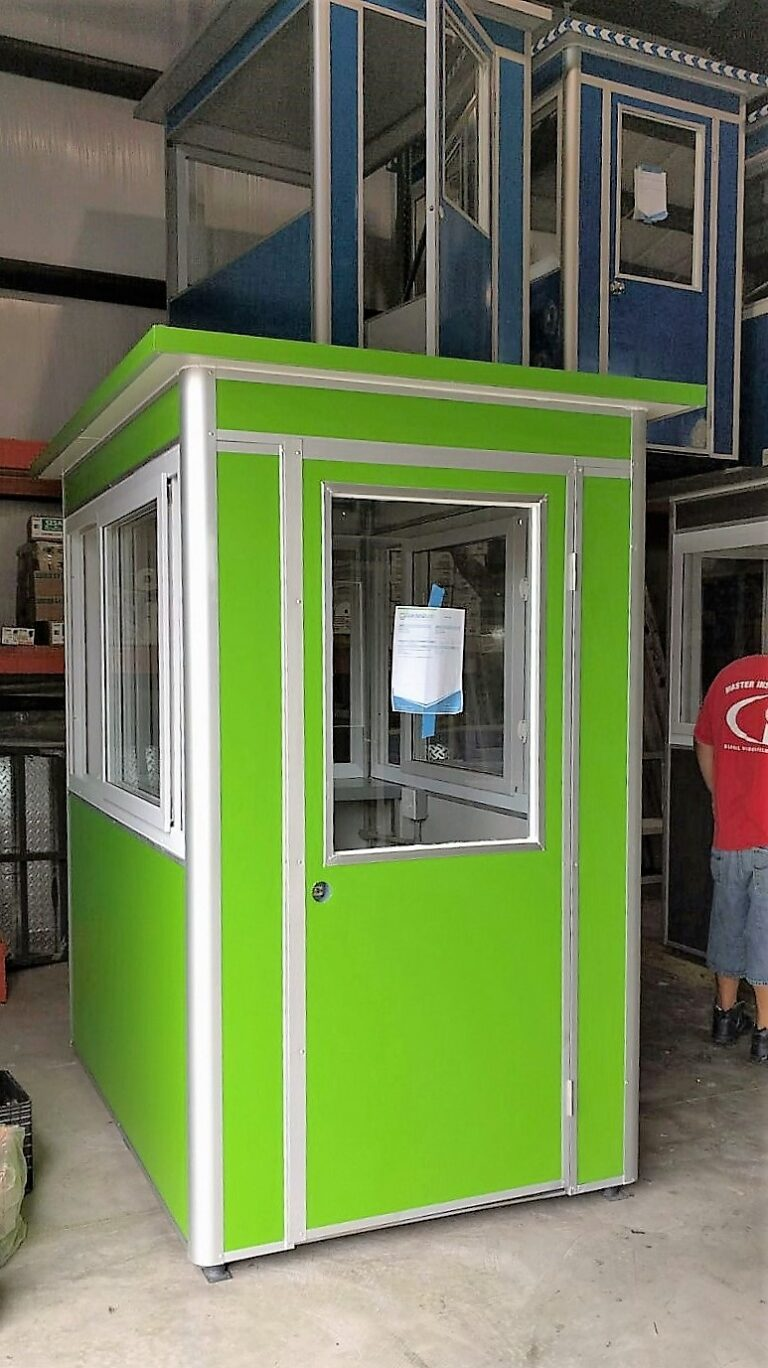 4x6 Parking Booth in Los Angeles,CA with Custom Exterior Color, Caster Wheels, Swing Door, and Sliding Windows