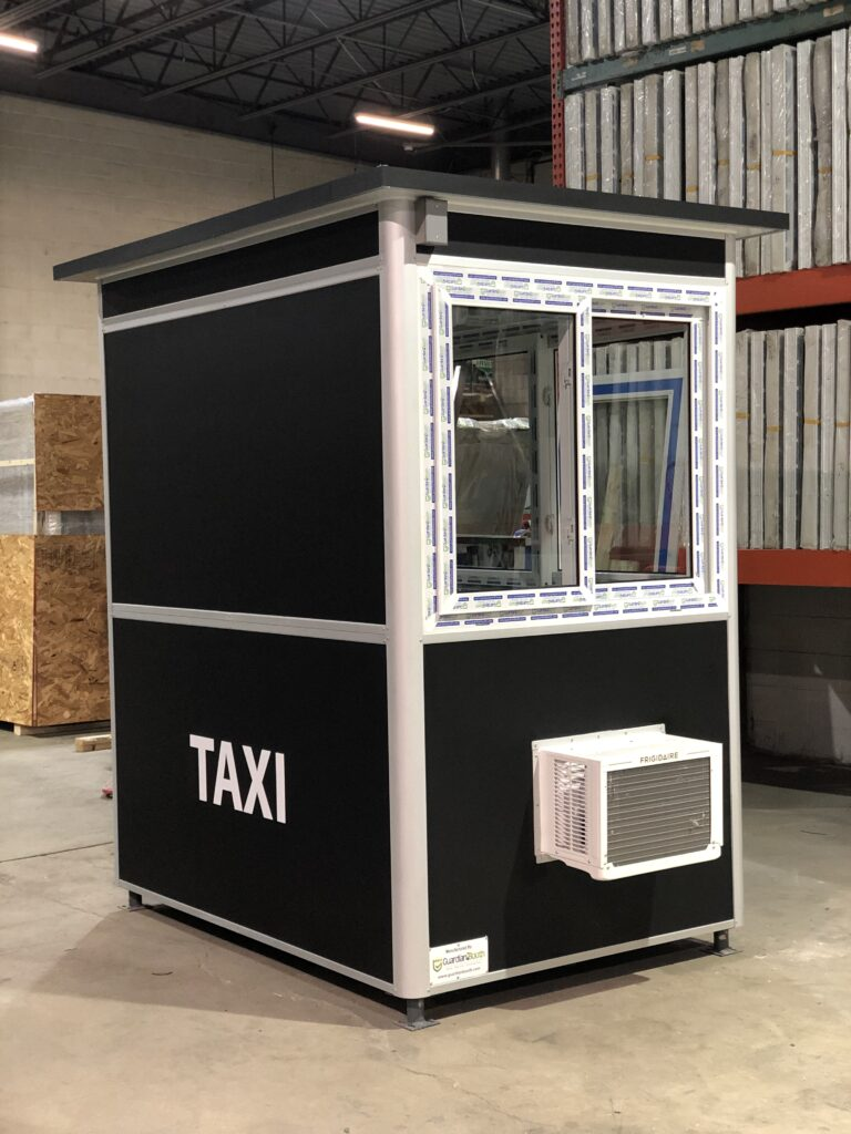 4x6 Parking Booth in New York, NY with Extended Overhang, Custom Graphics, Custom Exterior Color, Built-in AC, and Baseboard Heaters