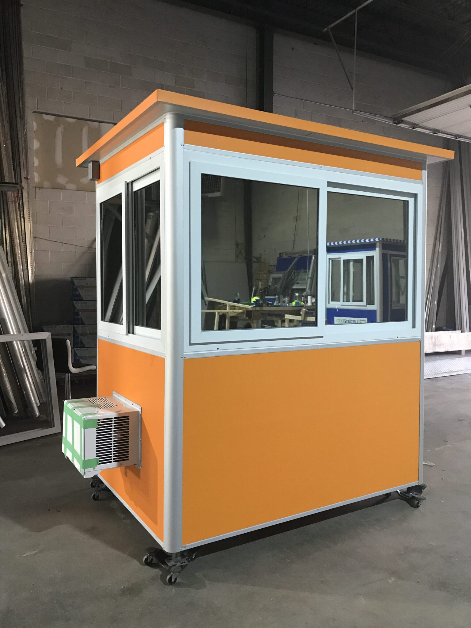 4x6 Security Guard Booth in Allentown, PA with Custom Exterior Color, Tinted Window, Built-in AC, Baseboard Heater, Electric Disconnect Switch