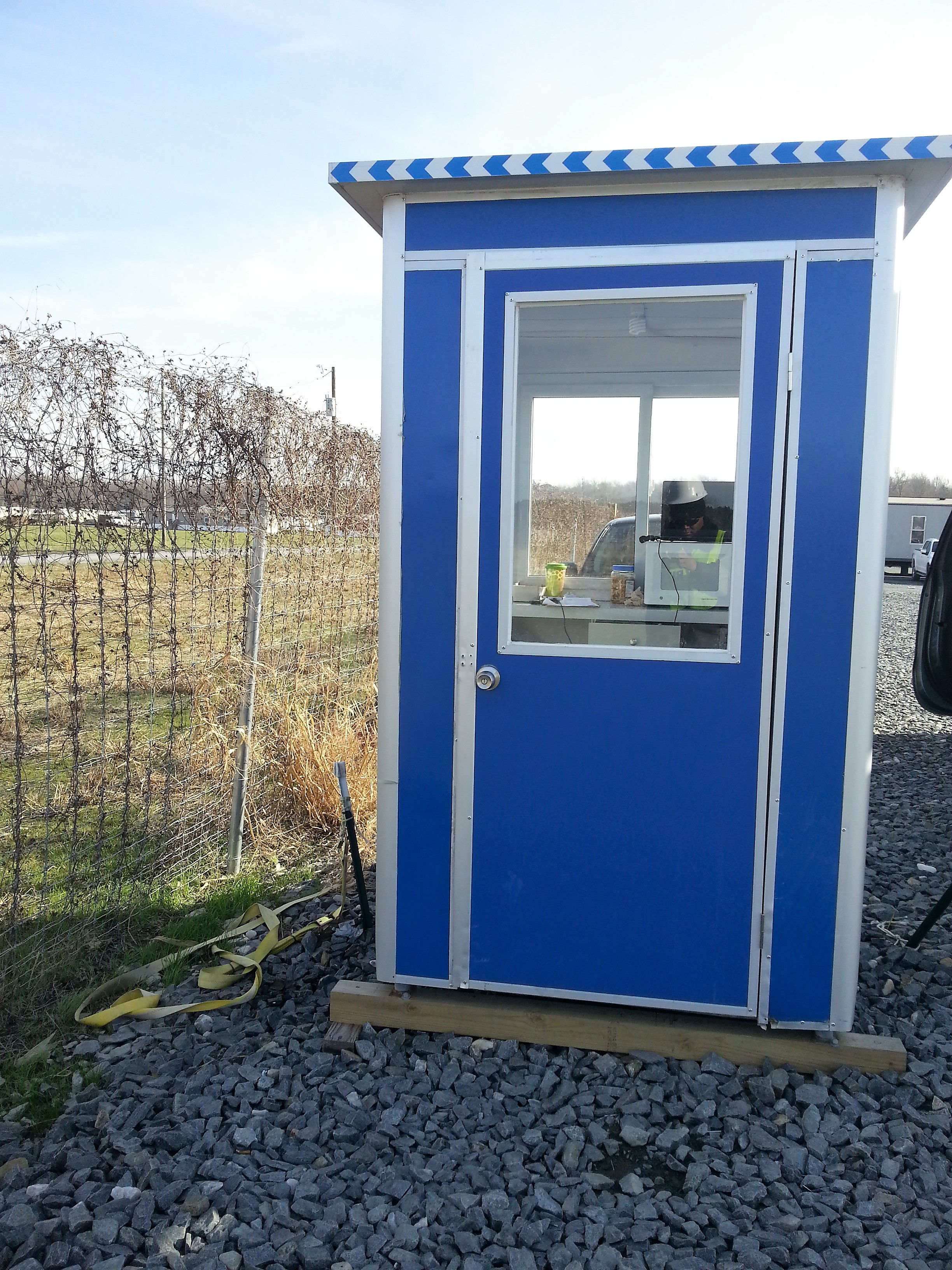 4x6 Security Guard Booth in Oak Hall, VA with Swing Door, Sliding Windows, Built-in AC, Baseboard Heaters, and Breaker Panel Box