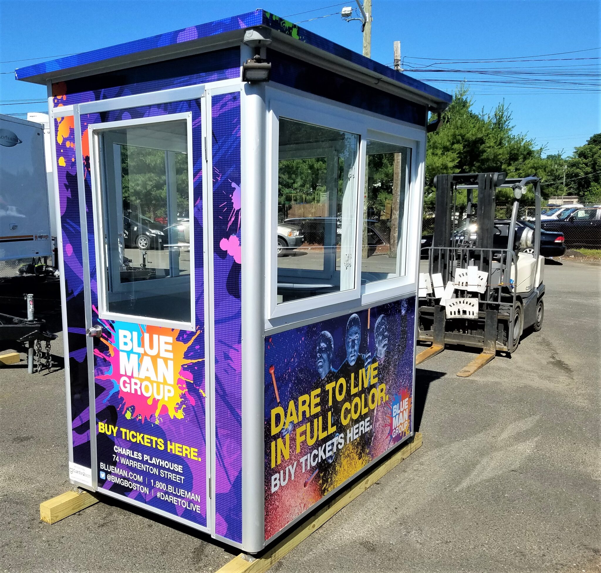 4x6 Ticket Booth in Boston, MA with Custom Graphics, Custom Exterior Color, Outside Spotlights, Swing Door