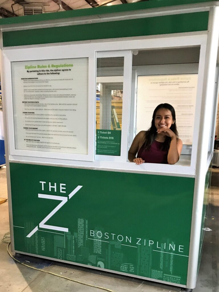 4x6 Ticket Booth in Boston, MA with Custom Graphics, Custom Exterior Color, and Sliding Windows