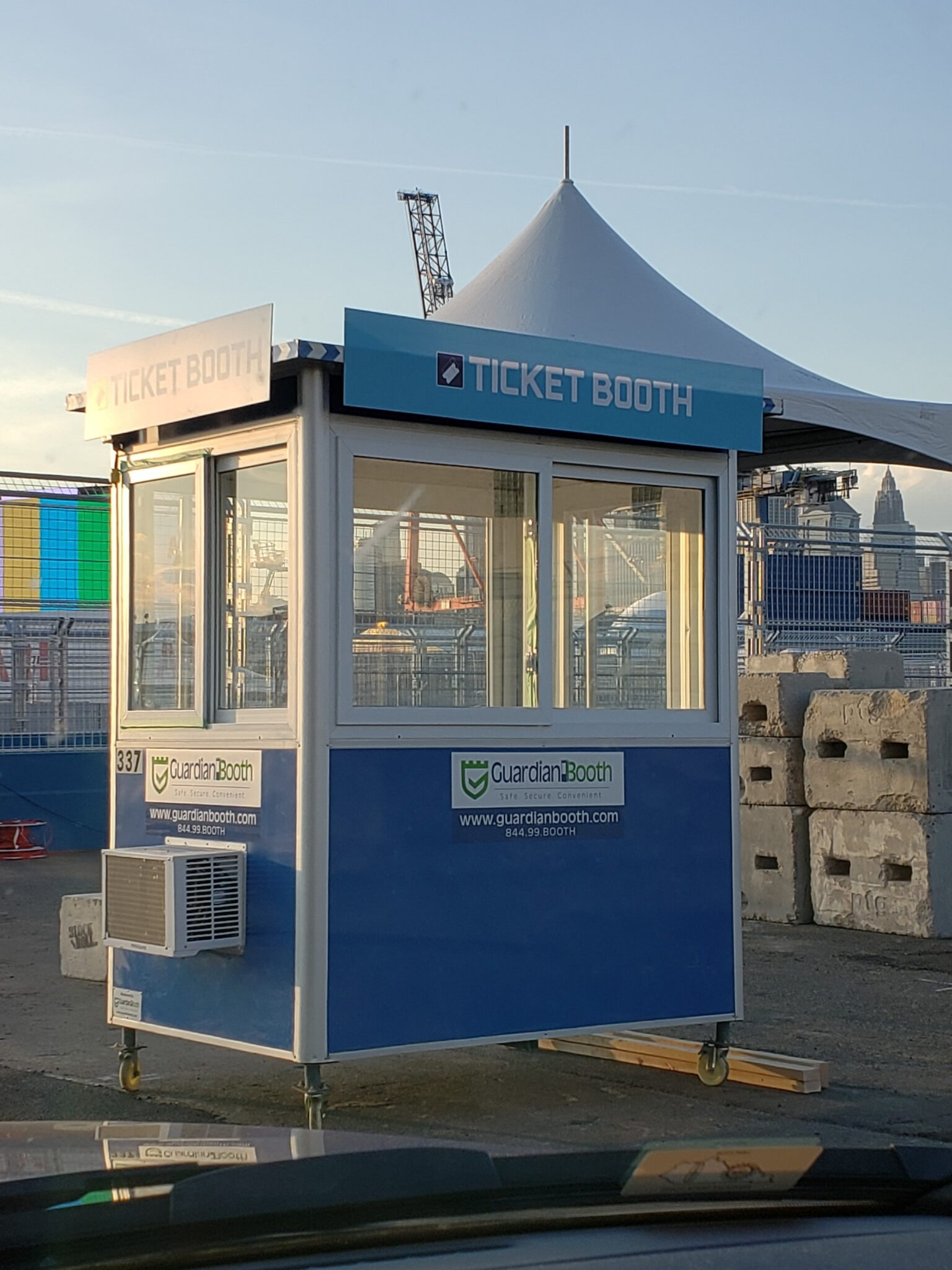 4x6 Ticket Booth in Brooklyn, NY at E-Prix with Caster Wheels, Built-in AC, Sliding Windows, and Swing Door