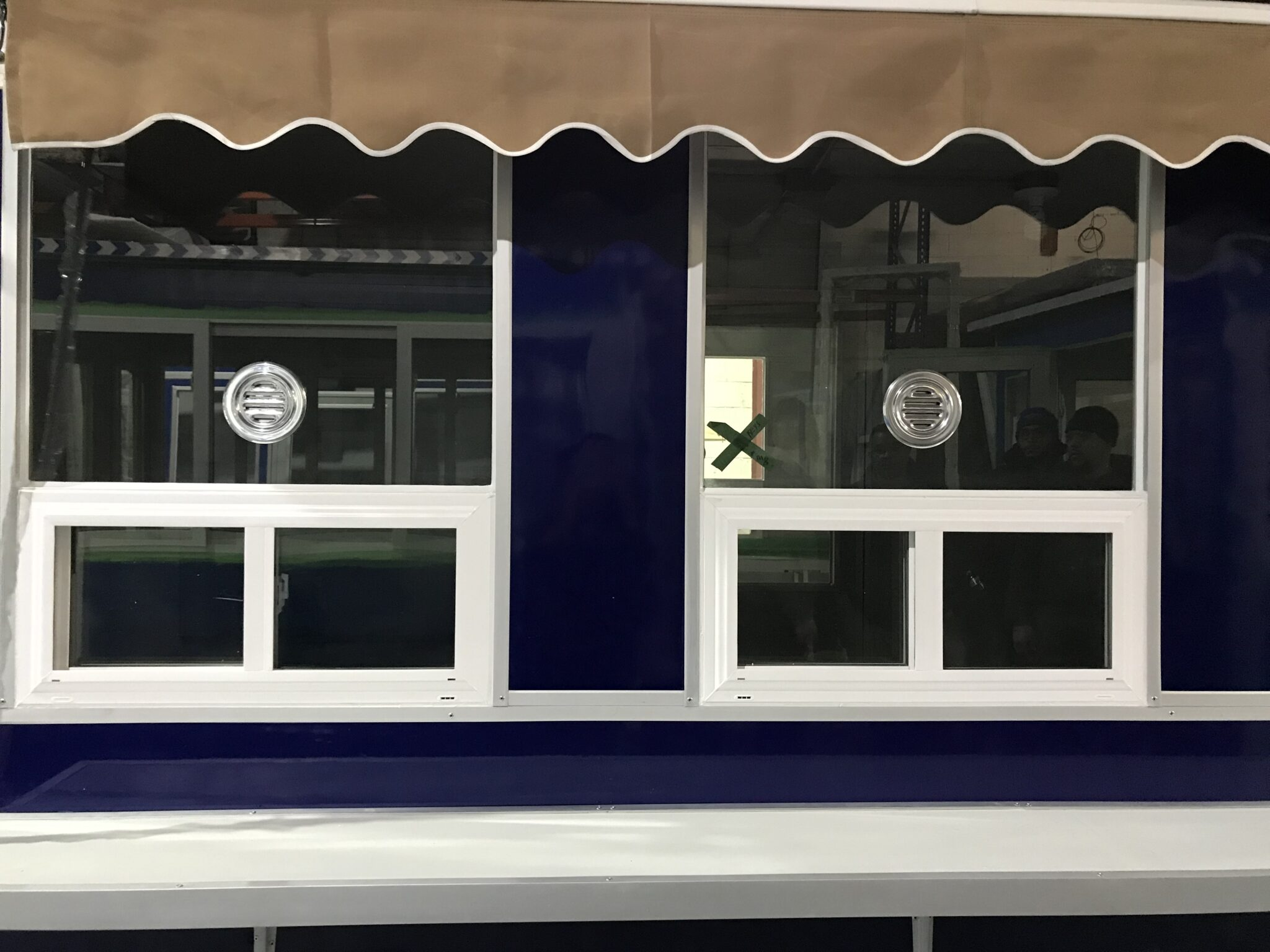 6x16 Ticket Booth in Tampa, Fl with Ticket Transaction Windows, Speakers, Sliding Windows, Exterior Counter, and Retractable Awning