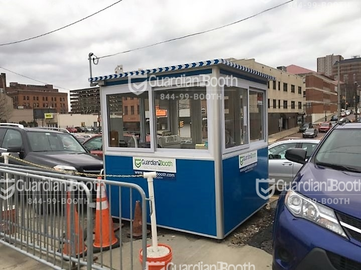 6x6 Parking Booth in New York, NY in Parking Lot with Sliding Windows, Key Hooks, and Ethernet Port And Phone Line