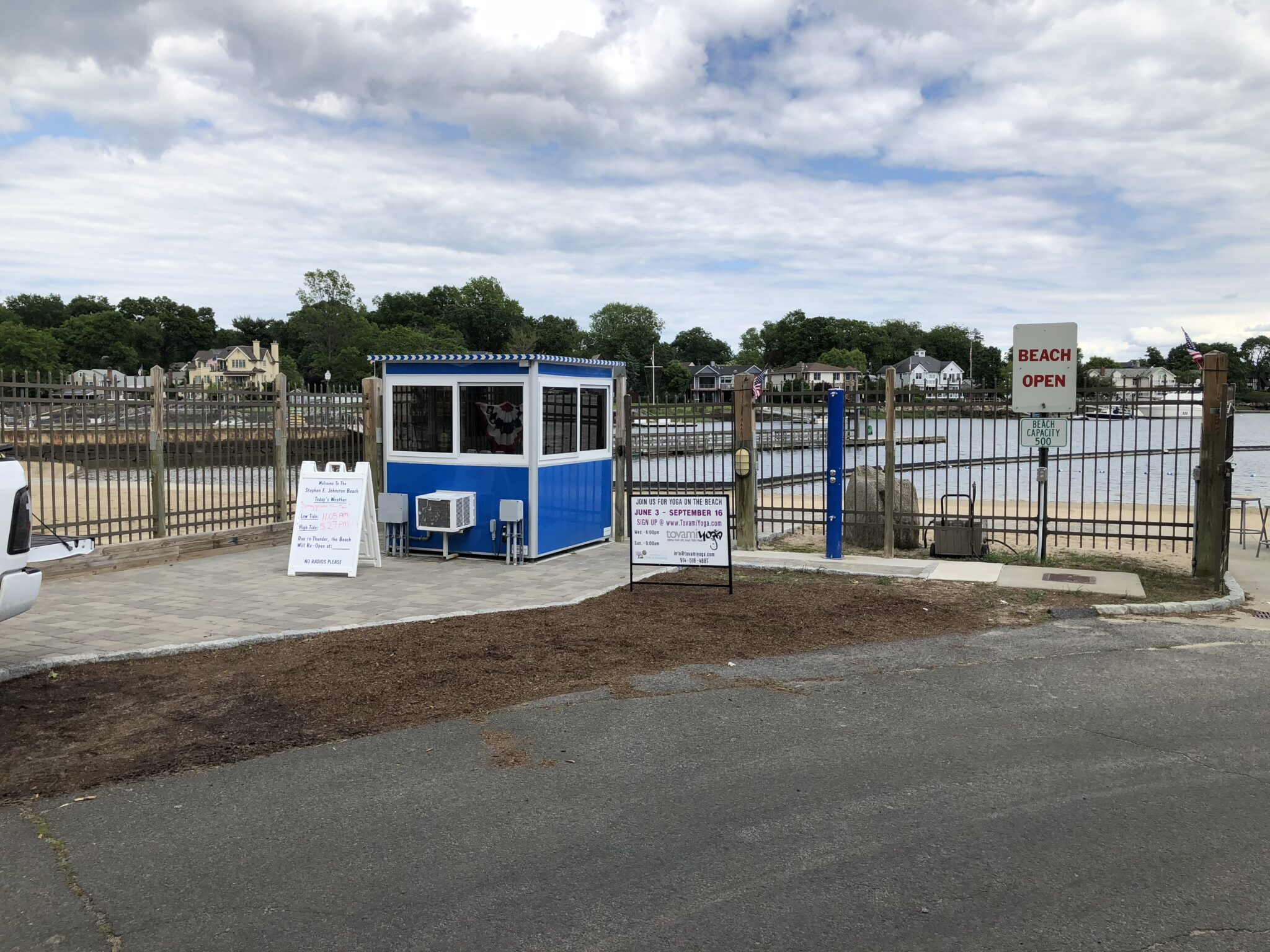 6x6 Ticket Booth In Mamaroneck, NY outside Beach entrance with Built-in AC, and Baseboard Heater, and Perimeter Security Fencing