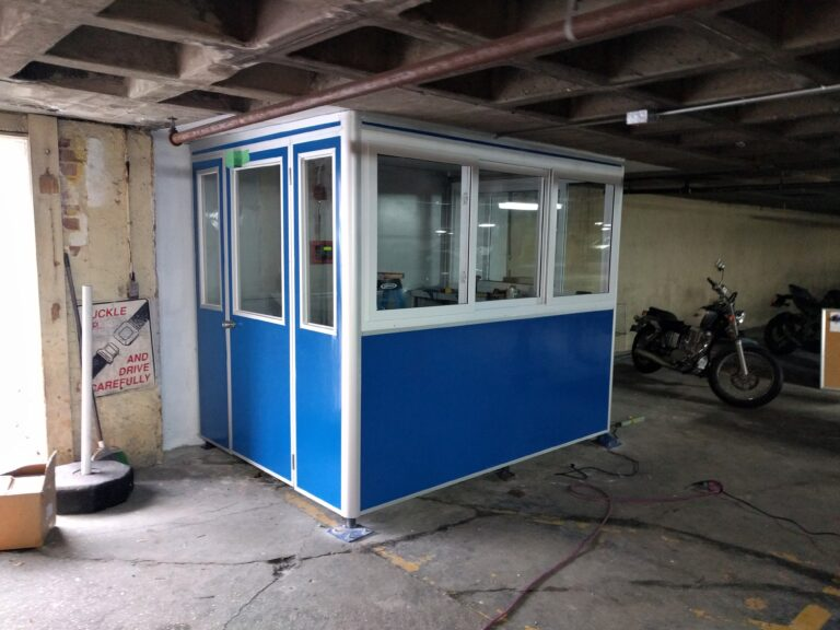 6x8 Parking Booth in Fort Lee, NJ in a Parking Garage with Built-in AC, Baseboard Heaters, and Ethernet Port and Phone
