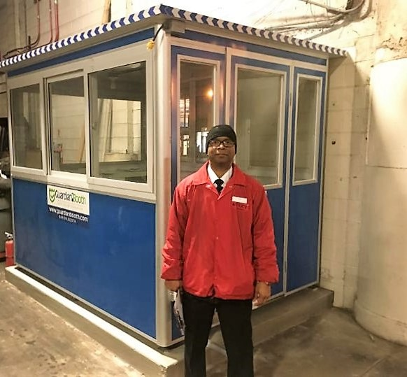 6x8 Security Guard Booth in Chicago IL at Macy's with Sliding Windows,Swing Door, Baseboard Heaters,Exterior Electrical Disconnect Switch