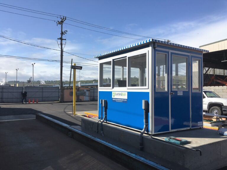 6x8 Security Guard Booth in Seattle, WA with Swing Door, Sliding Windows, and Tinted Windows