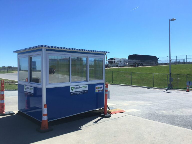 6x8 Ticket Booth in Austin, TX at The COTA Track, with Tinted Windows, Built-in AC, Sliding Windows, and Swing Door