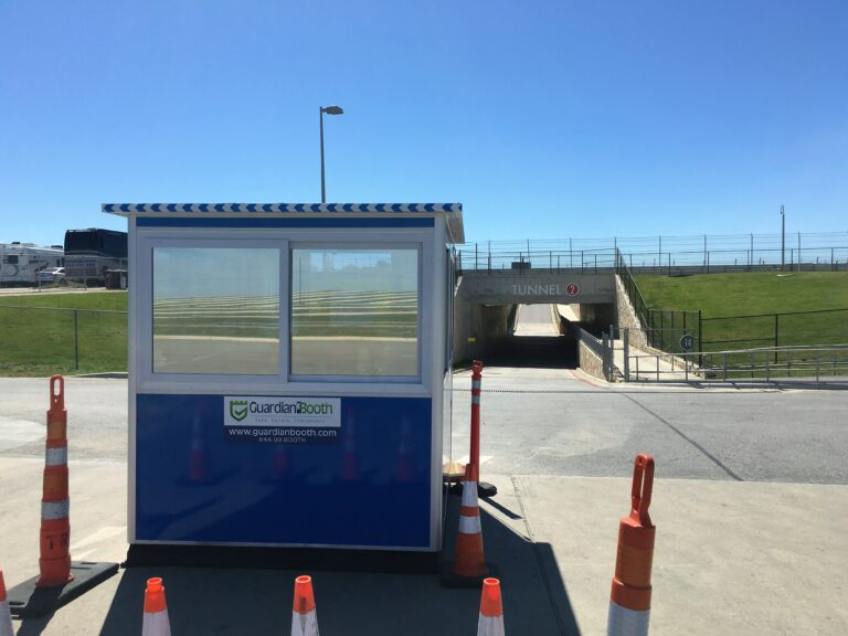 6x8 Ticket Booth in Austin, TX at The COTA Track, with Tinted Windows, Sliding Windows, and Perimeter Security Fencing
