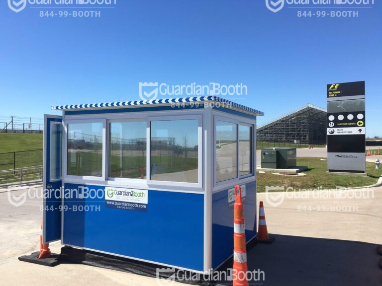 6x8 Ticket Booth in Austin, TX at The COTA Track, with Tinted Windows, Built-in AC, and Swing Door
