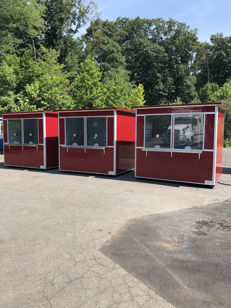 6x8 Ticket Booths in Monroe, WA at State Fair, with Ticket Transaction Windows, Speaker, Exterior Ticket Counter, Custom Exterior Color