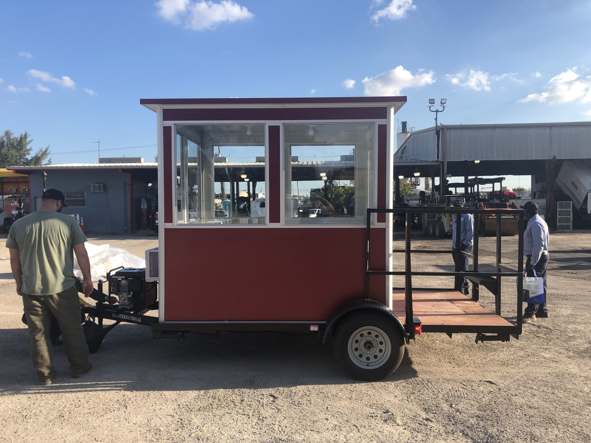 6x8 Trailer Booth in Miami, FL with Generator, Stabilizer Jacks, Built-in AC, and Custom Exterior Color for Construction Site Security Guard Booth