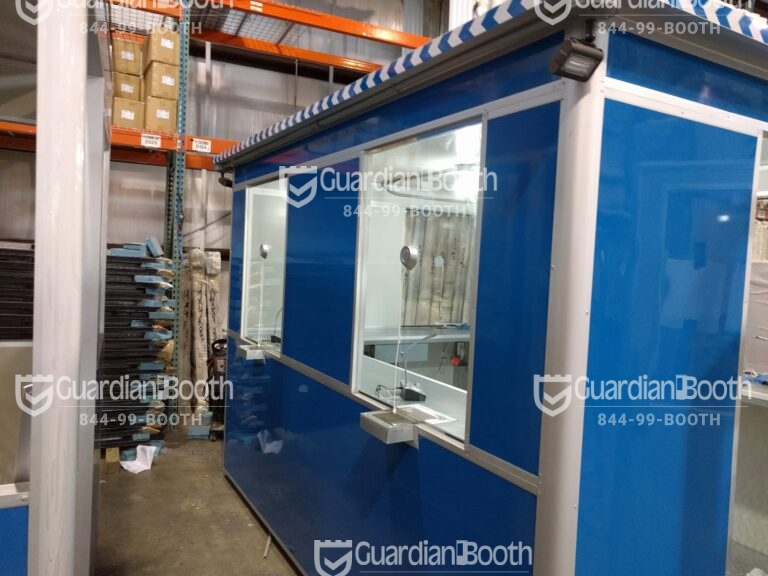8x10 Ticket Booth in Miramar, FL with Ticket Transaction Windows, Speakers, Outside Spotlights, and Sliding Windows