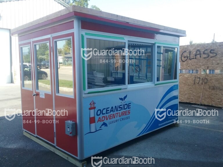 8x10 Ticket Booth in Oceanside, CA with Baseboard Heaters, Electric Disconnect Switch, Sliding Windows, and Swing Door