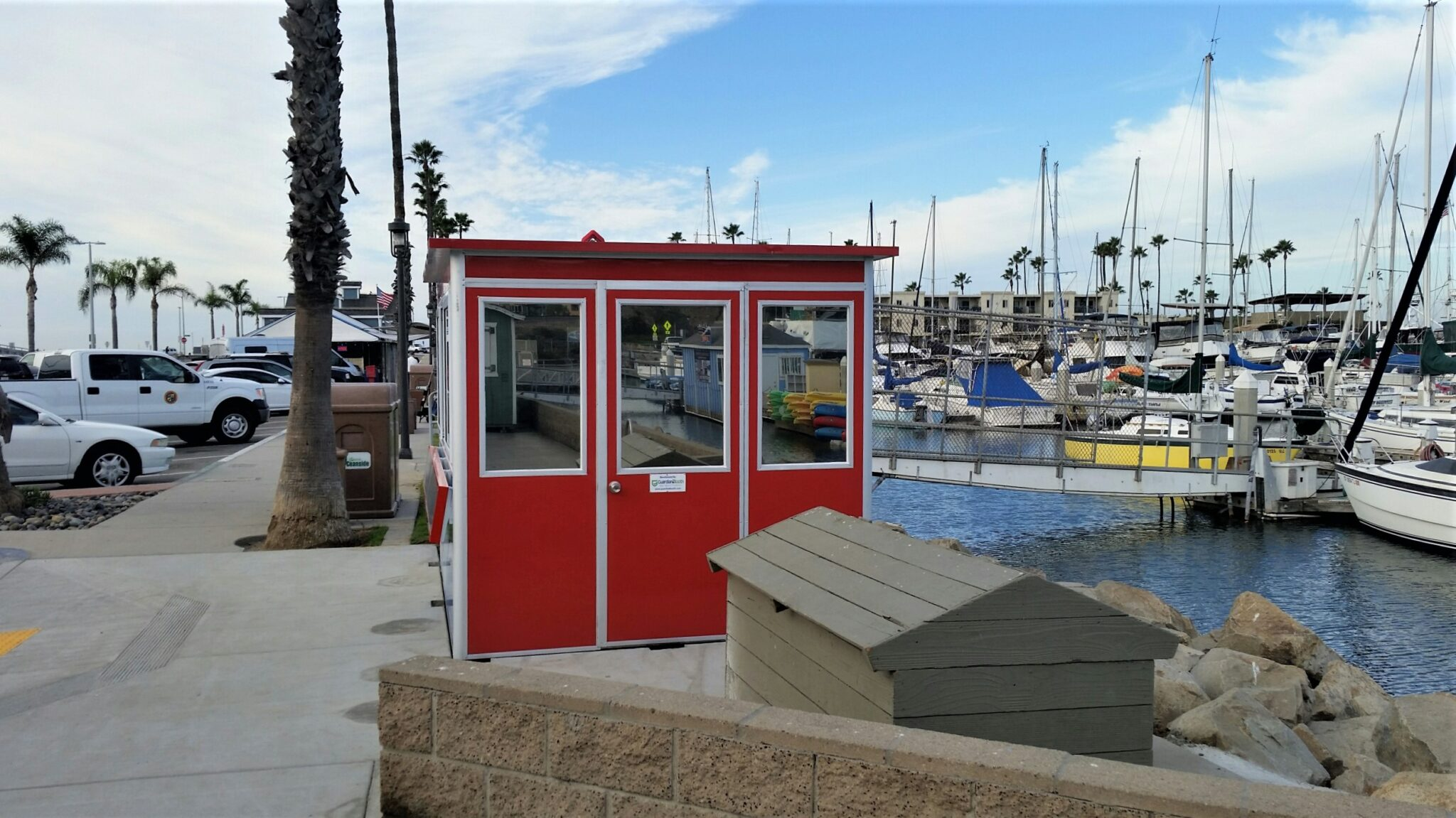 8x10 Ticket Booth in Oceanside,CA outside Harbor with Swing Door, Breaker Panel Box, Conduit Box, Electric Disconnect Switch