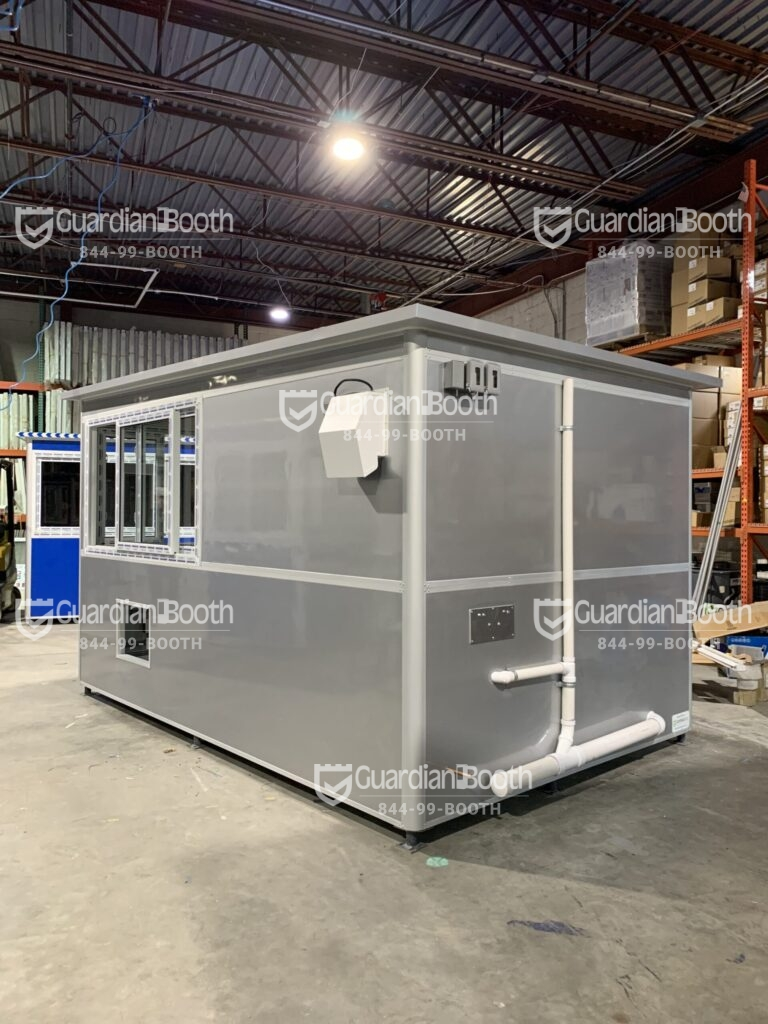 8x12 Security Guard Booth in Talladega, AL with Sliding Windows, Breaker Panel Box, Baseboard Heaters, Ethernet Port and Phone Line