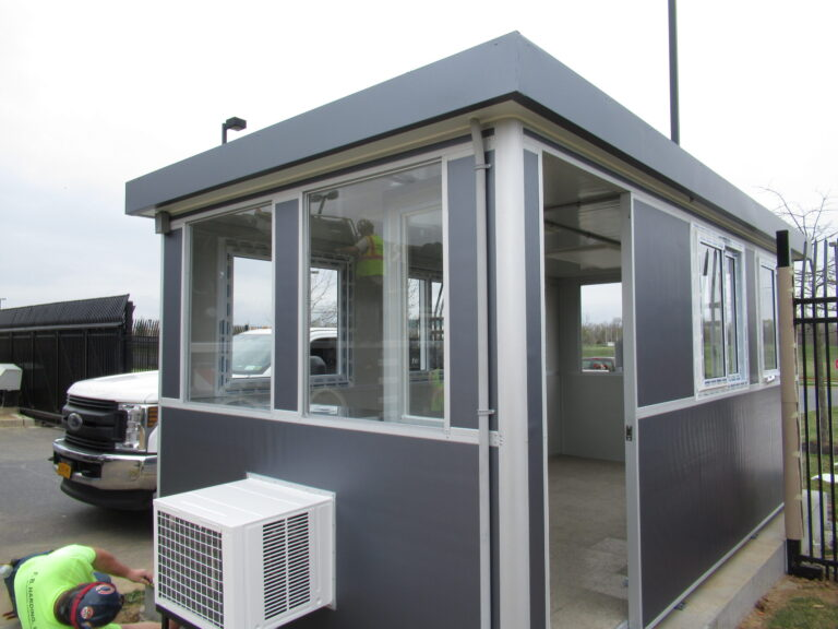 9x17 Security Booth in Frederick Maryland  with Sliding door, Sliding Windows, and Custom Exterior Color
