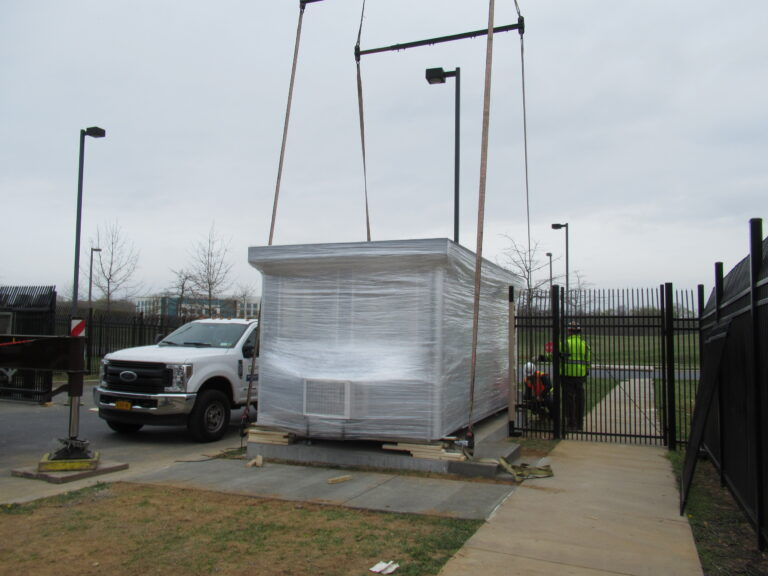 9x17 Security Booth in Frederick Maryland  with Custom Exterior Color and Unloaded By Crane