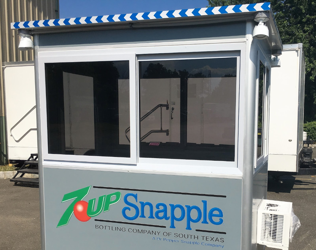 Custom designed guard booth with 7 Up and Snapple logos