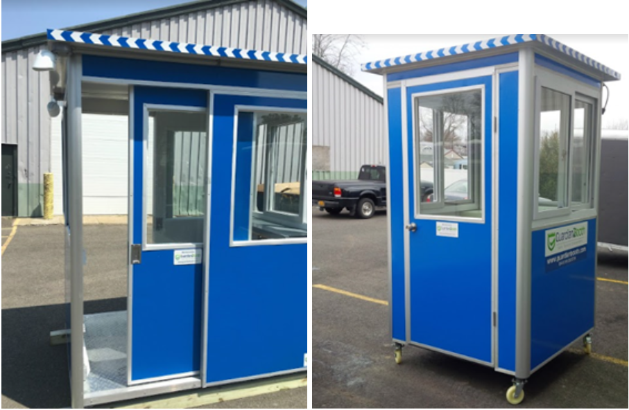 A blue booth with a sliding door next to a blue booth with a swinging door.