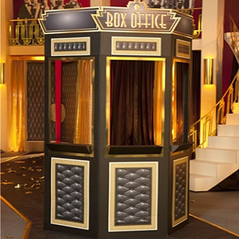 A traditional box office booth made of cardboard