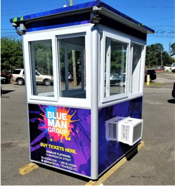 Blue Man Group booth with AC unit visible