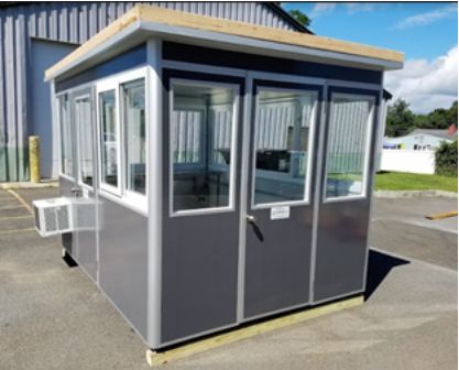Gray security booth with windows