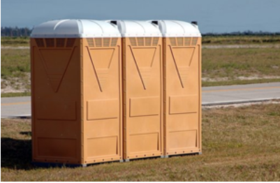 Three portable toilets lined up