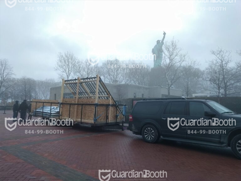 10x12 Booth Parts being Delivered in New York, NY at Statue of Liberty to be Assembled