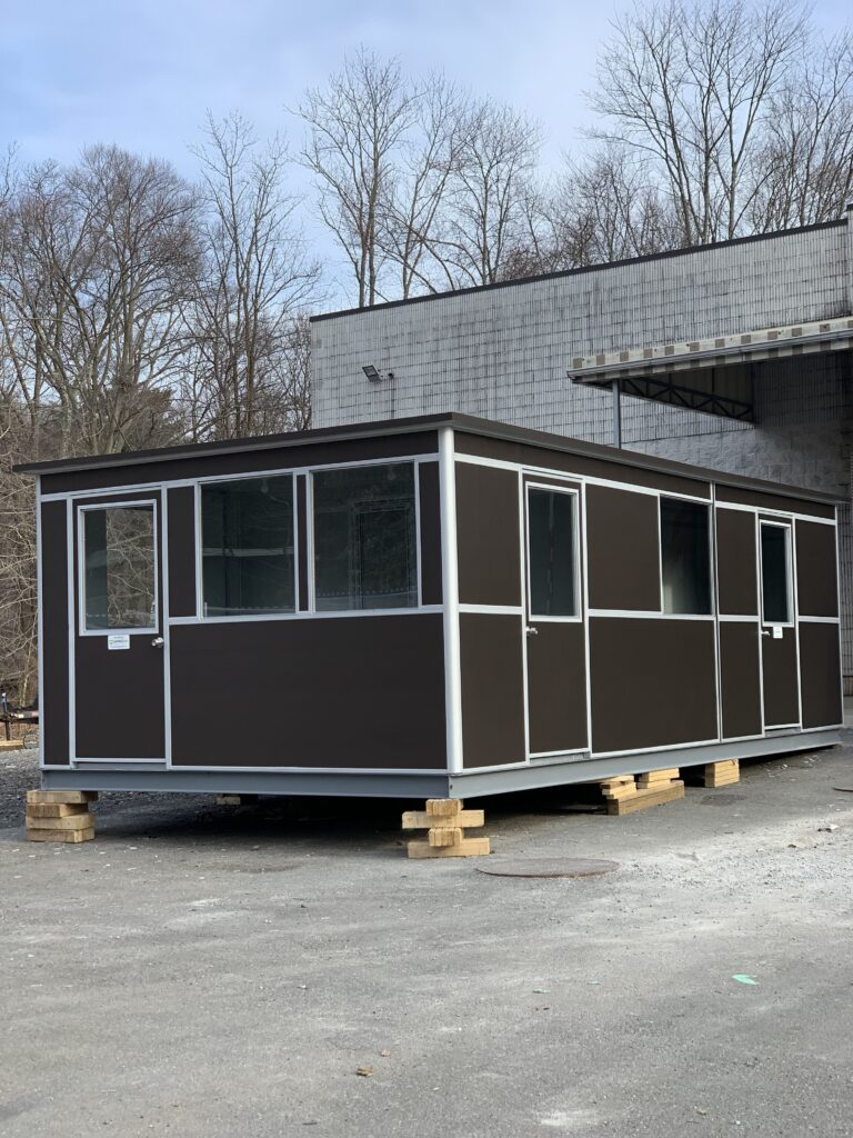 12x24 Modular Office Booths in Decatur, AL with Fixed Safety Windows and Exterior Custom Wrap