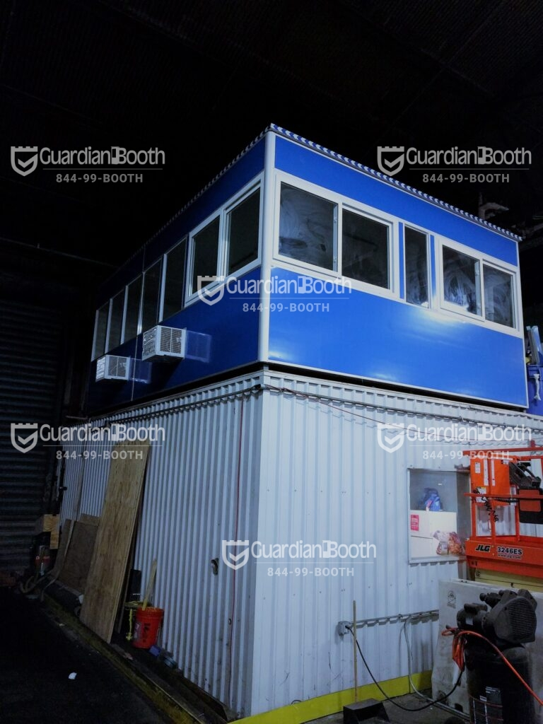 14x20 Modular Office in Brooklyn, NY inside warehouse with Fixed Windows, Sliding Windows, Breaker Panel Box, Baseboard Heaters, and Built-in AC